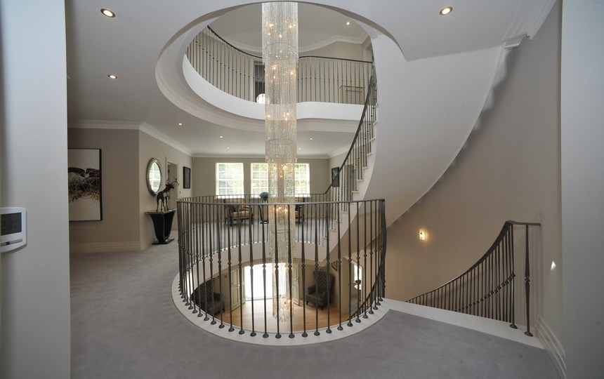 Staircase with Chandelier