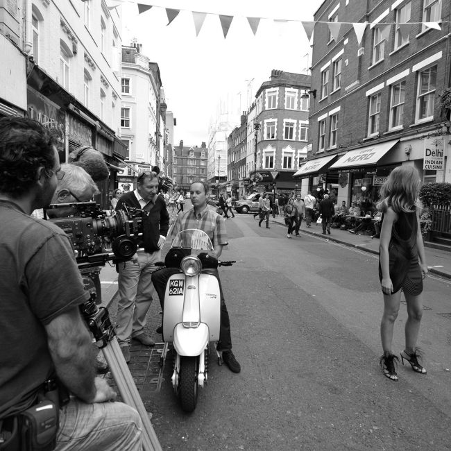 Filming in high street